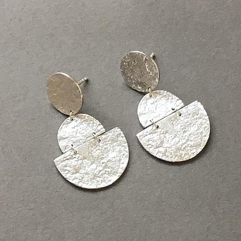 Textured Disc Drop Earrings - Sterling Silver