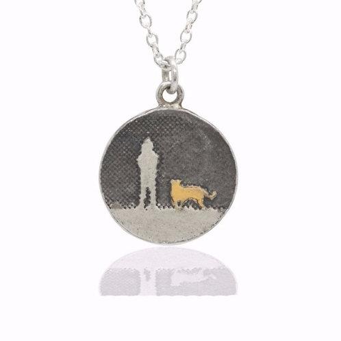 Charlotte Lowe  - Round Walk Under Night's Sky Gold Dog Necklace