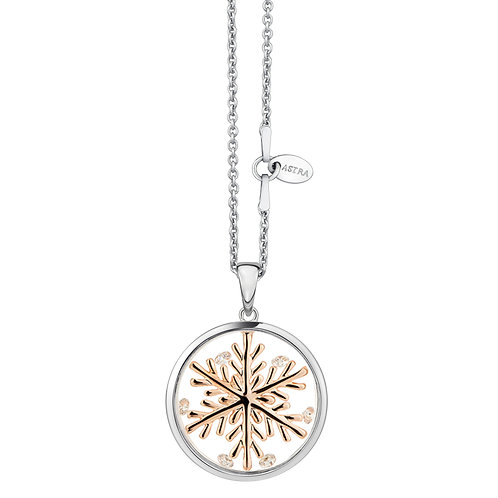 ASTRA LUCKY SNOWFLAKE NECKLACE ROSE GOLD MAYA COLLECTION LUCK THEME CHRISTMAS