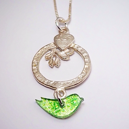 Marmoo Lime Green Bird Necklace by Amanda Cope