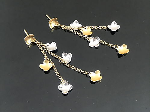 Flower Drop Earrings - 18ct White and Yellow Gold