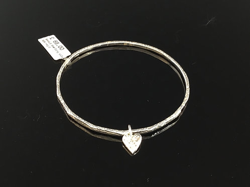 Textured Bangle with Heart - Sterling Silver