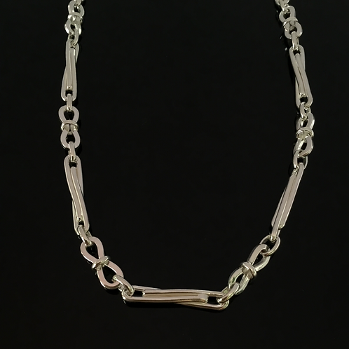 Bow Link Twisted Bar Chain - Sterling Silver