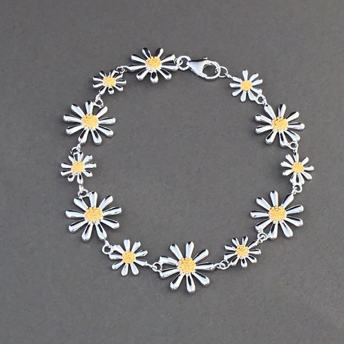 Daisy Bracelet - Sterling Silver with Gold Plate
