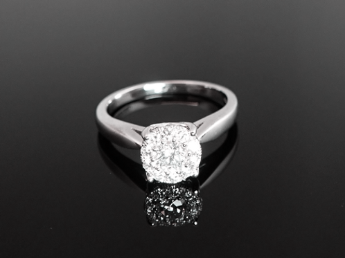 Diamond Halo Cluster Ring  - 18ct White Gold