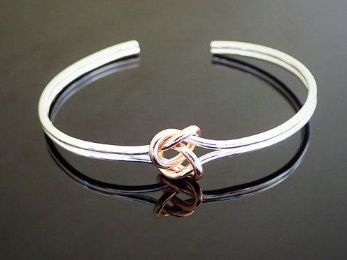 Silver Torque Bangle with Rose Gold Plated Knot - Sterling Silver