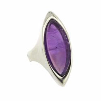Marquise Amethyst Dress Ring - Sterling Silver
