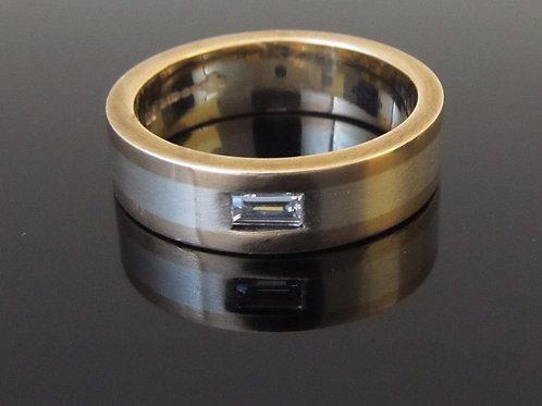 9ct gold diamond ring flat view
