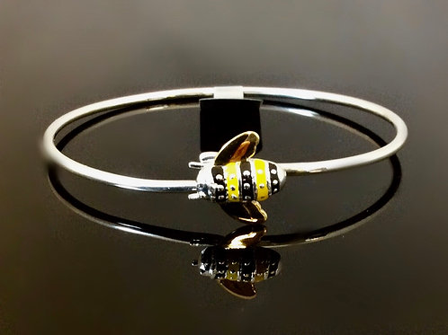 Bee Bangle - Sterling Silver With Enamel