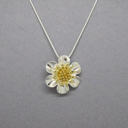 Flower Necklace - Sterling Silver with Gold Vermeil