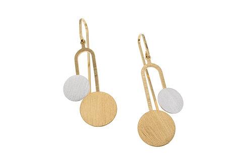 Deco Echo Double Disc Drop Earrings - Sterling Silver