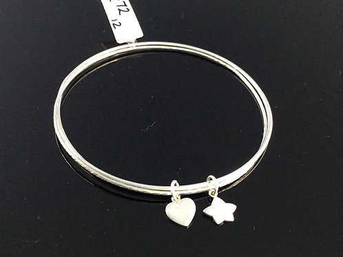 Heart and Star Bangle - Sterling Silver