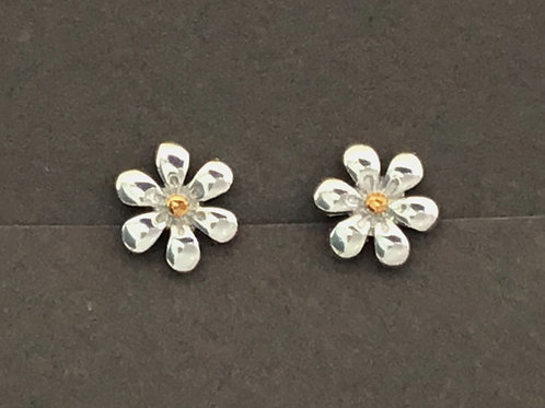 Daisy Earrings 8mm - Sterling Silver with Gold Plate Bead Centre