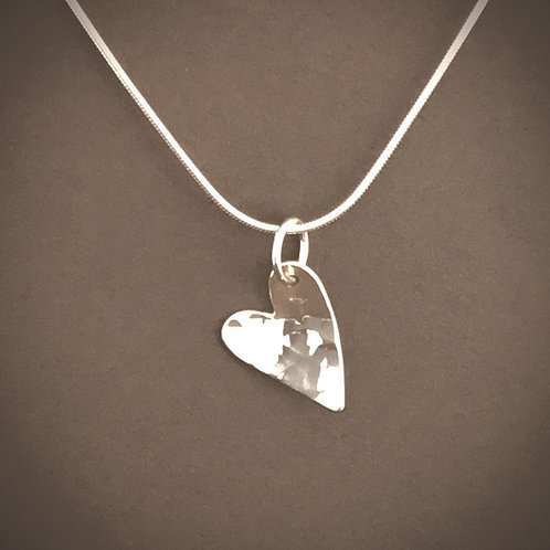 Christina Oswin Heart Necklace - Hammered Sterling Silver