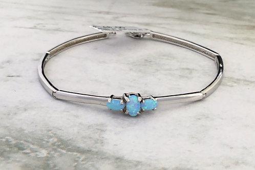 Opalite Silver Bar Link Bracelet - Sterling Silver