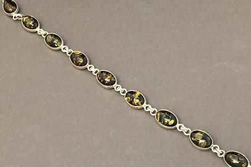 Green Amber Cabochon Bracelet  - Sterling Silver