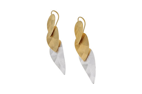 Deco Echo  Triple Leaf Drop Earrings - Sterling Silver