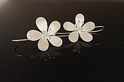 Long Drop Blossoming Flower Earrings - Sterling Silver