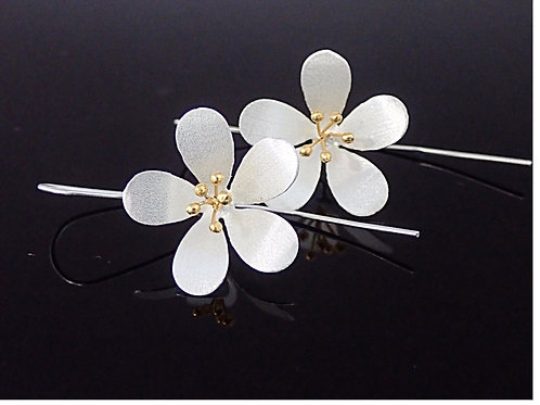Large Flower Drop Earrings - Sterling Silver with 18ct Gold