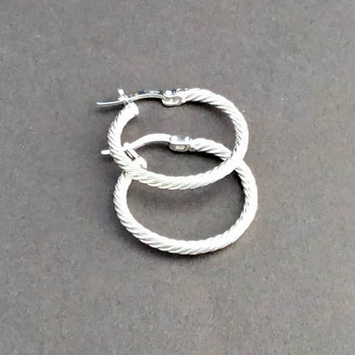 Twisted Silver Hoop Earrings - Sterling Silver