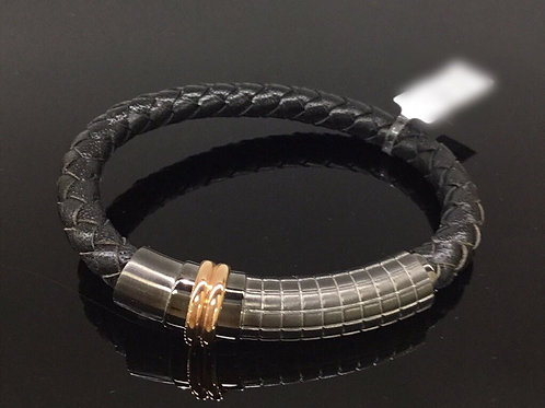 Leather Wrist Band with Steel