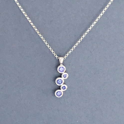 Tanzanite CZs Necklace - Sterling Silver