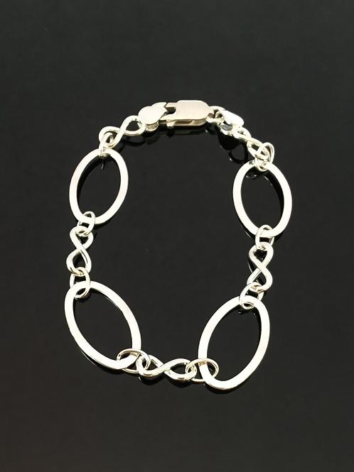 Sterling Silver Bracelet with Large Ovals