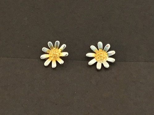 Daisy Earrings 8mm - Sterling Silver with Gold Plate Centres