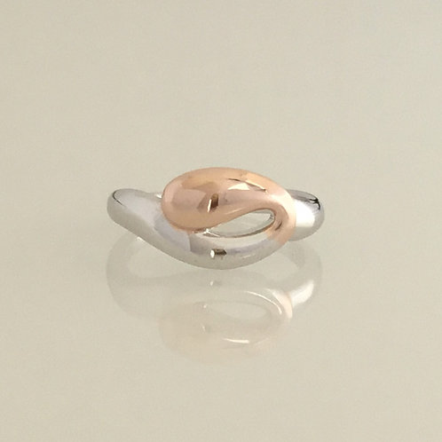 Loop Ring - Sterling Silver with rose gold plating