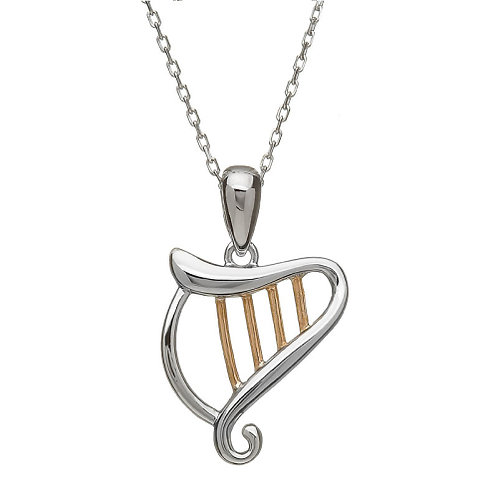 House of Lor Harp Pendant with Irish Rose Gold Strings