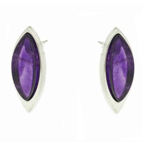 Sterling Silver, Marquise Amethyst Earrings