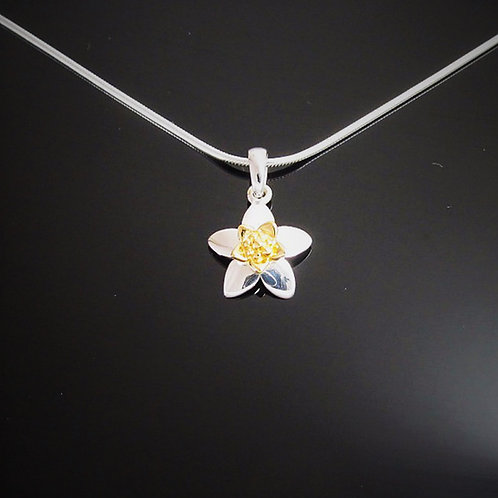 Narcissus Flower Necklace - Sterling Silver with Gold Vermeil