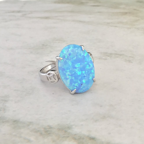 Very Large Opalite Ring - Sterling Silver
