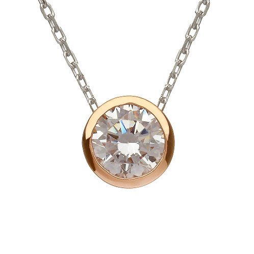 House of Lor Irish Gold Single CZ Pendant Silver and Rose Gold
