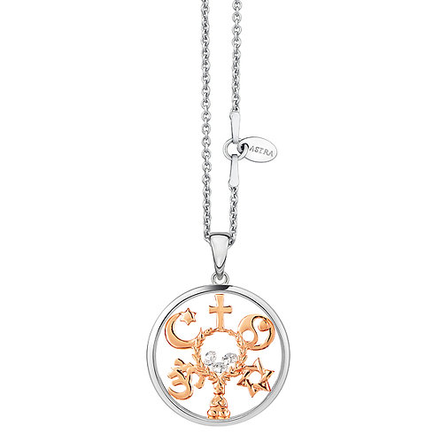 ASTRA COEXIST MAYA ROSE GOLD NECKLACE Christian cross Yin Yang Star of David  Buddha  Om, the star and crescent of Islam