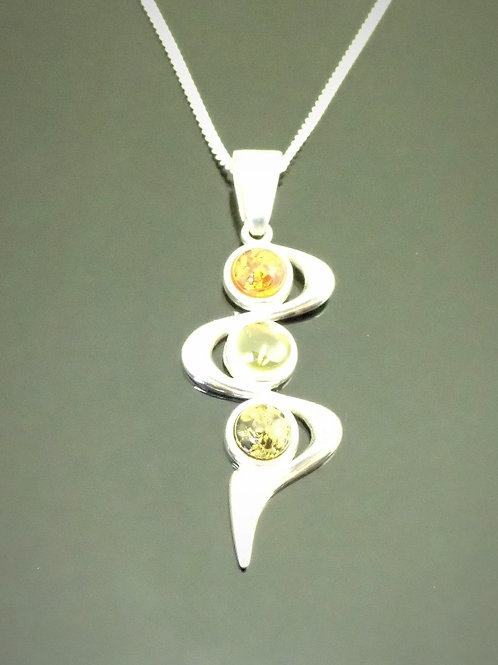 Amber Wave Pendant - Sterling Silver