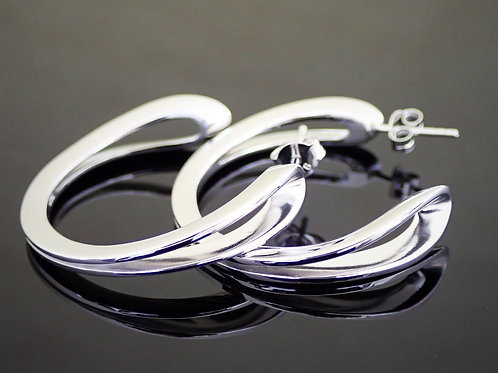 Silver Hoop Earrings With Open Curve   -  Sterling silver