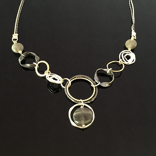 Dganit Hen Open Link Necklace - Silver, Silver Oxide, Gold Detail