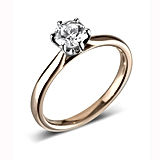 round diamond solitaire ring, six claw view 2