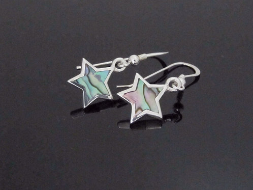 paua shell sterling silver drop star earrings