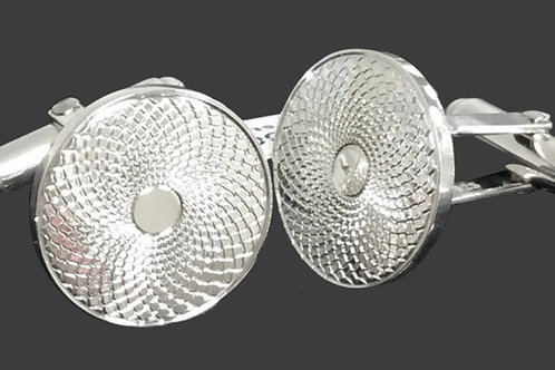 Engine Turned Cufflinks in Sterling Silver