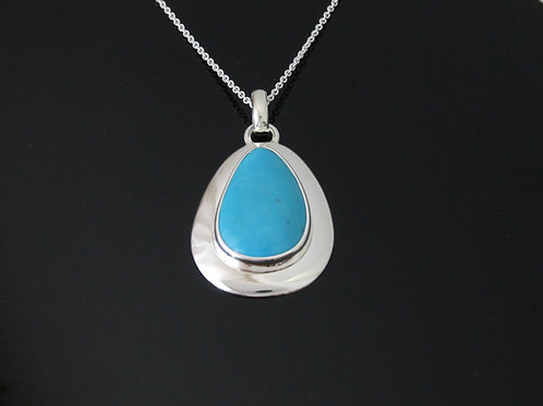 Contemporary sterling silver & turquoise necklace