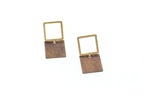 Deco Echo Chocolate Square Earrings - Sterling Silver