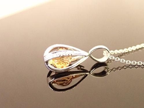 Citrine Necklace - 18ct white gold