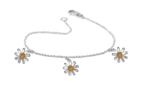 sterling silver dangly daisy bracelet with gold vermeil