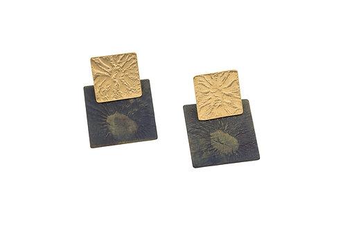 Deco Echo Square Link Short Drop Earrings - Sterling Silver