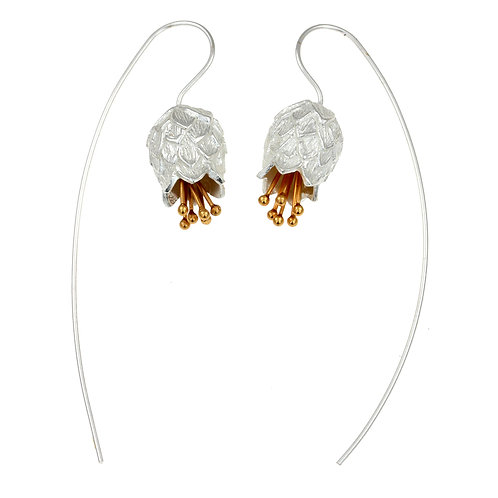 Thistle Silver and Gold Earrings