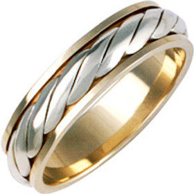 18ct Gold Two Colour Wedding Ring - With Platinum Rope Inlay  - Ladies