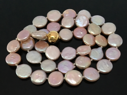 "19"" Pretty Pink Coin Pearl Necklace"