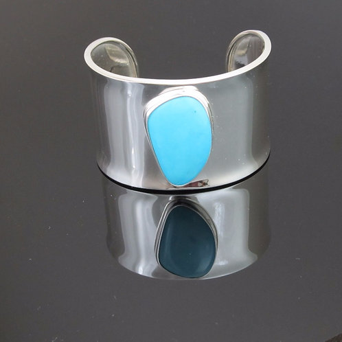 Contemporary sterling silver & turquoise cuff bracelet